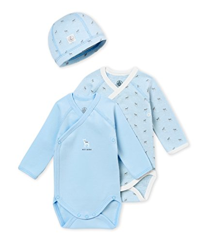 - Petit Bateau Baby Gift Set: Two Long Sleeve Bodysuits and HAT (1M)
