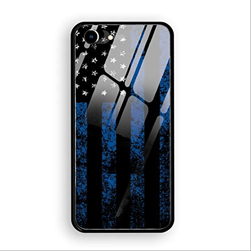 Thin Blue Line Flag Phone 7/8 Case,Tempered Glass Back Cover TPU Frame Shell Slim Case