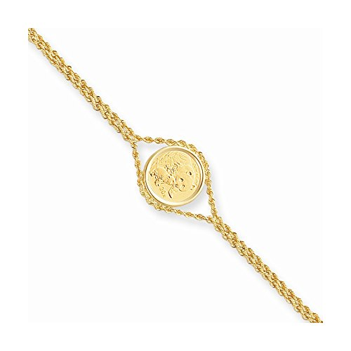- Top 10 Jewelry Gift 14k 7.25in 1/20oz Panda Coin Bezel Rope Bracelet Mounting