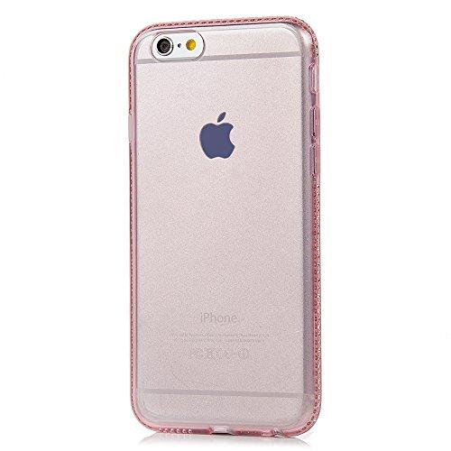 BADALink TPU Schutz Hartschale Super dünnes Hard Case TPU Silikon Hülle für iPhone 6 6S 6G Hülle Schutzhülle Case Cover Mit Diamant TPU Prägnant Serie Rosa Muster iPhone 6 6S 6G Case