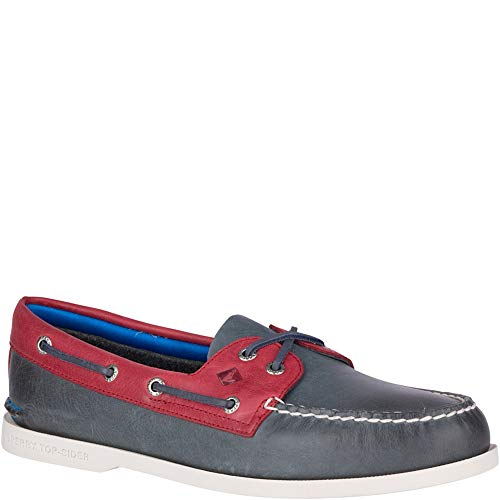 (Sperry Top-Sider Authentic Original Plush Boat Shoe Men 10 Navy/Red)