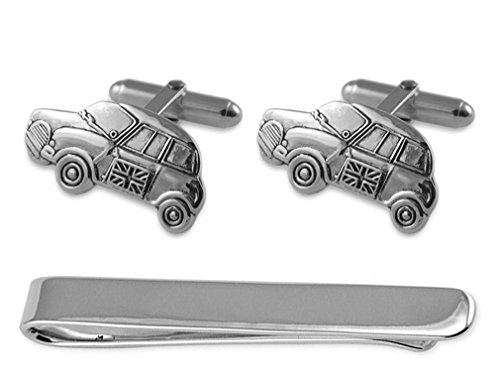 Sterling Silver Mini car Cufflinks and Tie Clip