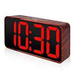 DreamSky Compact Digital Alarm Clock with USB Port for Charging, Adjustable Brightness Dimmer, Bold Digit Display, Adjustable Alarm Volume, 12/24Hr, Snooze, Wood Tone Desk Alarm Clock for Bedroom.