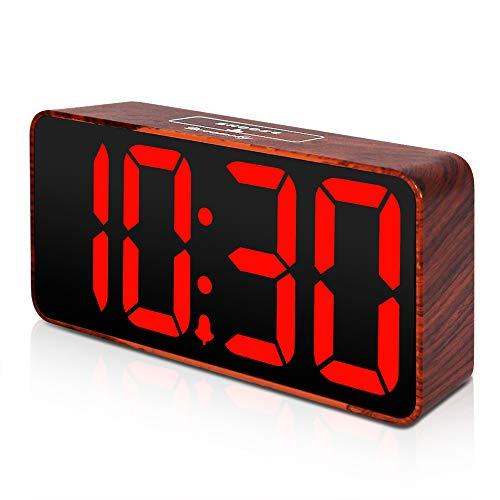 - DreamSky Compact Digital Alarm Clock with USB Port for Charging, Adjustable Brightness Dimmer, Bold Digit Display, Adjustable Alarm Volume, 12/24Hr, Snooze, Wood Tone Desk Alarm Clock for Bedroom.