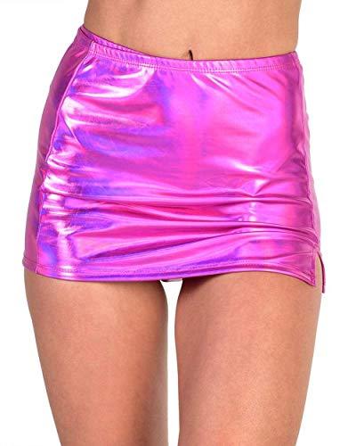 iHeartRaves Holographic Sin City Metallic Mini Skirt (Fuchsia, -