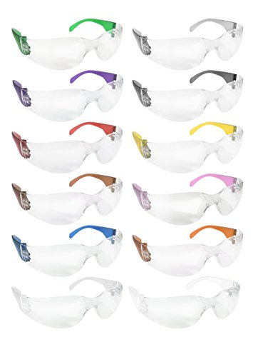 BISON LIFE Clear Lens Color Temple Safety Glasses | One Size, Adult, Clear Protective Polycarbonate Lens Color Temple Variety Pack, 12 Colors per Box (1 box)