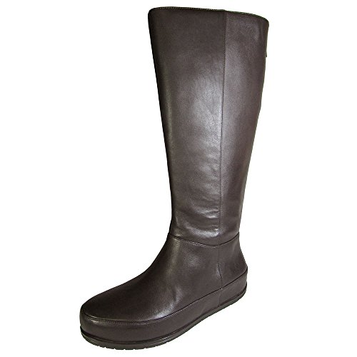 FitFlop Womens DueBoot Twisted Zip Knee High Boot Shoe, Chocolate Brown, US 8 -