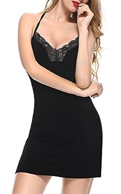 BMAKA Womens Sleepwear Sexy Nightie Lingerie Full Slip Babydoll Dress