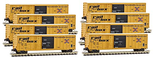 (Micro-Trains MTL Z-Scale 50ft SD Rib Side Box Cars Railbox/RBOX - Runner 8-Pack)