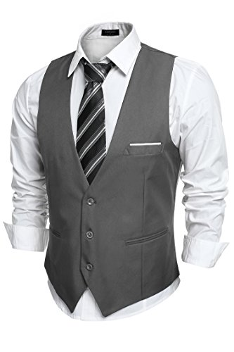 - COOFANDY Men's V-Neck Sleeveless Business Suit Vests Slim Fit Wedding Waistcoat,Type-02 Dark Gray,Medium