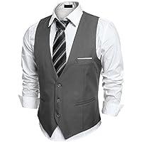 COOFANDY Men's V-Neck Sleeveless Business Suit Vests Slim Fit Wedding Waistcoat