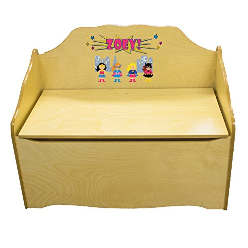 Personalized Girls Superhero Childrens Natural Wooden Toy Chest by MyBambino