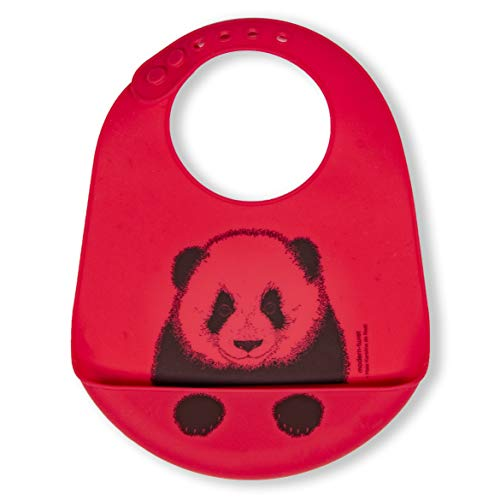 modern-twist 100% plastic free silicone waterproof, adjustable, dishwasher safe, Bucket Bib, Red Panda