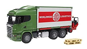 Bruder Toys Scania R-Series Cargo Truck With Forklift Attached
