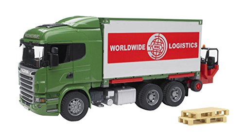 Bruder Toys Scania R-Series Cargo Truck With Forklift Attached Cargo Truck Vehicle