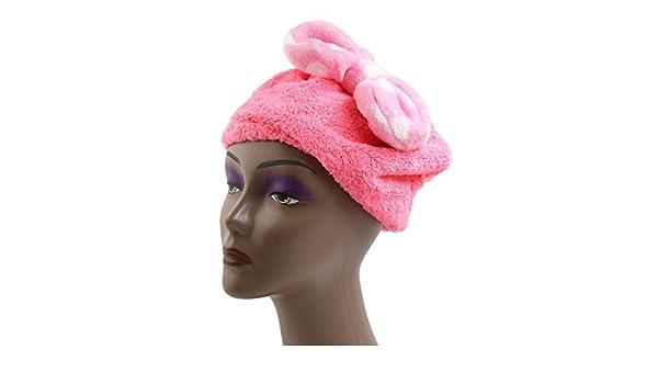 Amazon.com: eDealMax Rosa poliéster pajarita decoración elástico del Pelo toalla de sequía del casquillo del Sombrero cabeza Para Niños: Health & Personal ...