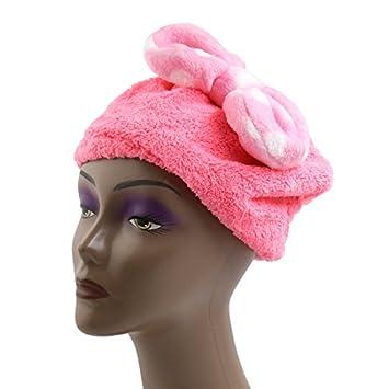 eDealMax Rosa poliéster pajarita decoración elástico del Pelo toalla de sequía del casquillo del Sombrero cabeza