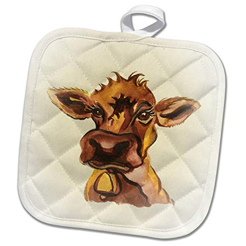 3dRose Art by Mandy Joy - Illustrations, Watercolor - A Cute Cartoon of a Cow. - 8x8 Potholder (PHL_294419_1) by 3dRose