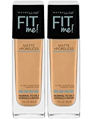 Maybelline New York Fit Me Matte + Poreless Liquid Foundation Makeup, Natural Beige, 2 Count