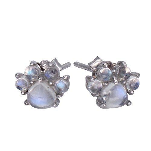 Luna Azure Colored Gems Moonstone Sterling Silver Cat Paw Stud Earrings Cat Moonstone Earrings