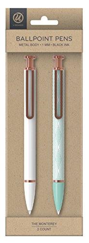 U Brands 'The Monterey' Retractable Ballpoint Pen, White and Teal, Black Ink, 2-Pack