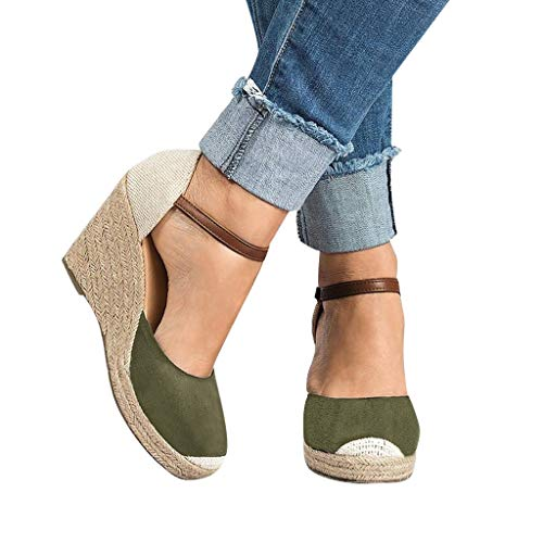 (TANGSen Women Flock Wedges High Ankle Outdoor Sandals Ladies Round Toe Casual Fashion Casual Summer Shoes Green)