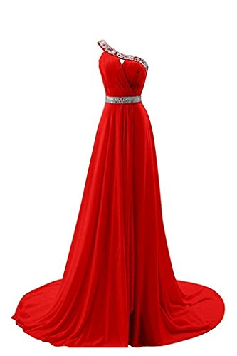 Momoai One Shoulder Bridal Dress Beaded Chiffon Prom Gown Long Empire Bridesmaid Dresses - Shoulder Sequined One