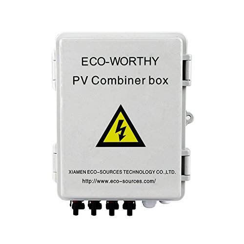 (4 String PV Solar Combiner Box 10A Circuit Breakers Control for On/Off Grid Solar Panel System, with Lightning Arrester)