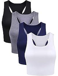 4 Pieces Basic Crop Tank Tops Sleeveless Racerback Crop Sport Cotton Top for Women