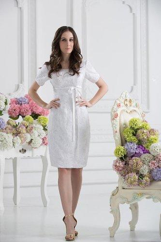 BRIDE Laessige mit Weiß GEORGE aermeln Kleid kurzen knielangen 8qnd5