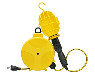 Designers Edge E216 Plastic Cord Reel with Handheld Work Lights, 20-Foot