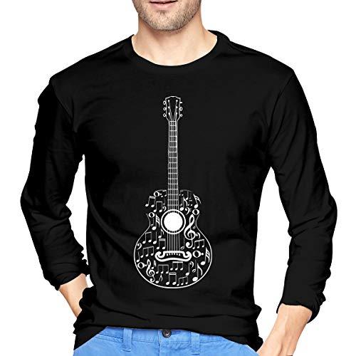 Men's Long Sleeve 100% Cotton T-Shirt, Fashion Guitar