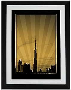 Dubai Skyline Down Town - Sepia No Text F01-m (a1) - Framed