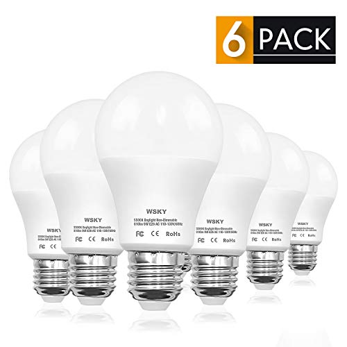 Wsky LED Light Bulb, 80-Watt Equivalent A19 Frosted Daylight (5500K) E26 Base 270 Beam Angle CRI80+, 9W Efficient Energy Saving Light Bulbs for Office/Home Pack of 6