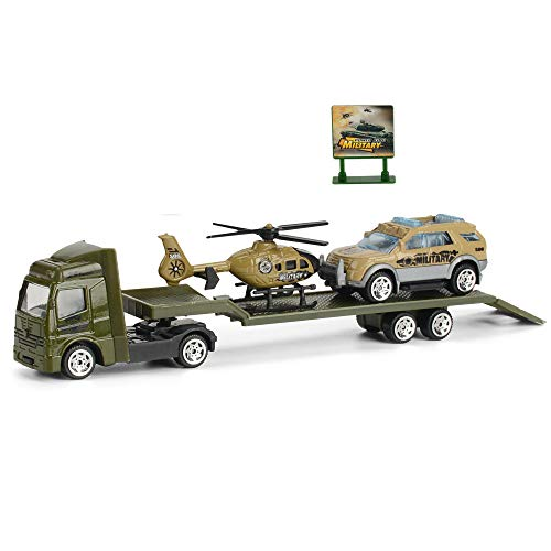 fantastic_008 Tractor Toy Truck Transporter with Trailer Army Military Pretend Play with Helicopter ,Jeep and Sign Stand,1:64 Scale,8.46x1.38x2.17 Inches ()