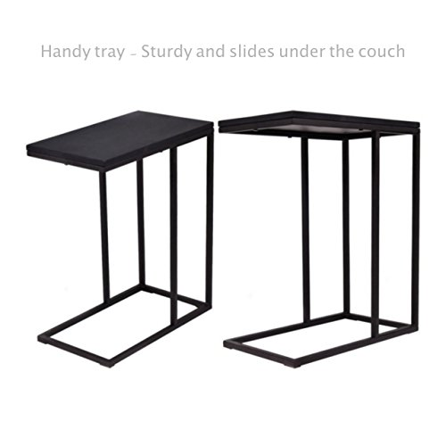 Sofa Side End Coffee Table Laptop Stand PC Desk Study TV Snack Solid Iron Frame Ottoman Home Office Decor Furniture - Set of 2 #1818