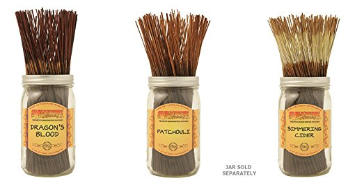 WILDBERRY Incense Sticks Set of 3 Scents - Dragon's Blood, Patchouli, Simmering Cider (Pack of 100 Each, Total 300 Sticks)