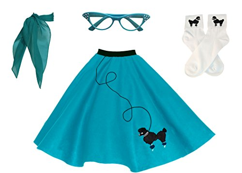 Hip Hop 50s Shop Adult 4 Piece Poodle Skirt Costume Set Teal Medium/Large