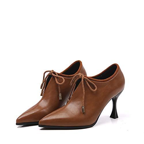 Yukun Moda Mujer Caramel Puntiagudos Otoño Alto Zapatos Con Fino Tacón Boca Profunda Colour De xqRTr