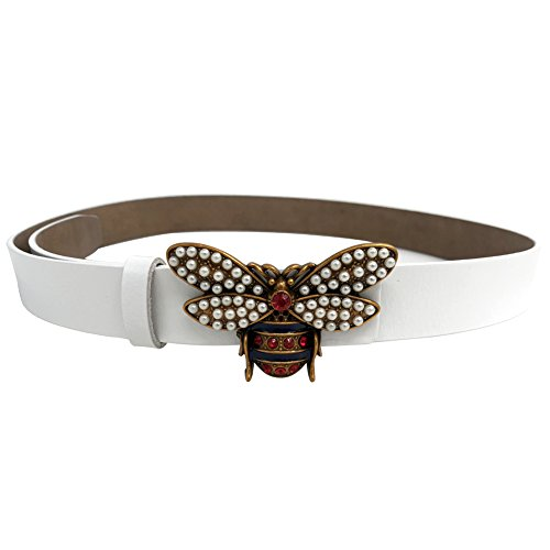 MoYoTo Women 1.10″ Thin Genuine Leather Fashion Bee Designer Buckle Belt With Pearl (White) ()