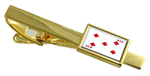 Select Gifts Diamond Playing Card Number 5 Gold-Tone Tie Clip Engraved Message Box
