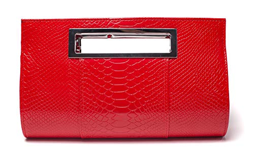 Ilishop Women's Classic Crocodile Pattern Faux Leather Metal Grip Clutch (Red) (Handbag For Women Red)