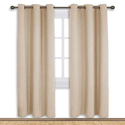 NICETOWN Thermal Room Darkening Draperies Curtains, Thermal Insulated Grommet Room Darkening Drape Panels for Bedroom (Biscotti Beige, 2 Panels, W42 x L72 ()