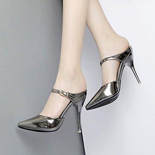 Easemax Womens Trendy Metalen Enkel Gesp Puntige Lage Top Geen Sluiting Hoge Naaldhak Sandalen Pistool