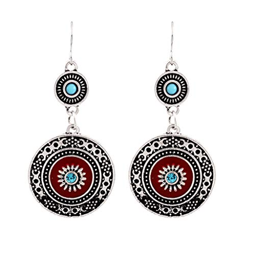 (Round Floral Earrings,kolo FINE  Pattern Bohemian Fashion Stud Handwoven Semi-Precious Large Flower Shell Creative Exaggerated Ethnic Style Wood Round Pearl Bracelet for Sister (Silver))