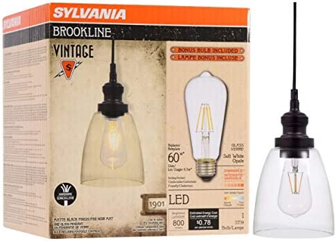 SYLVANIA General Lighting Sylvania, Antique Black 75512 Brookline Bell Pendant Light, LED, Dimmable Bulb Included Vintage Fixture