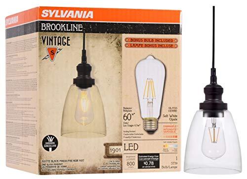 SYLVANIA General Lighting Sylvania 75512 Brookline Bell Pendant Light, LED, Dimmable Bulb Included Vintage Fixture, Antique Black