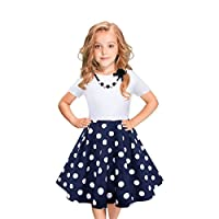 LEEGEEL Girls Vintage Dress Polka Dot Swing Rockabilly Dresses Necklace Size 6-12 Girls Dresses