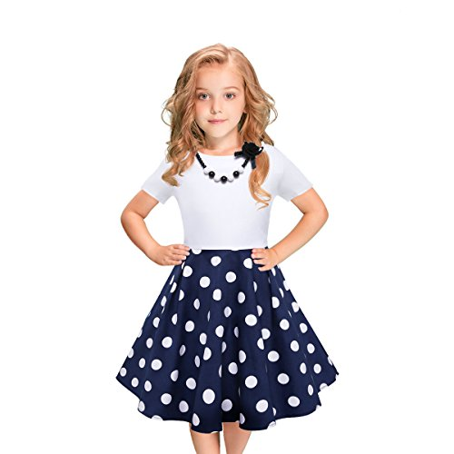 LEEGEEL Girls Short Sleeves Round Neck Swing Rockabilly Dress With Necklace (9-10 Years, Blue/White Polka Dot)