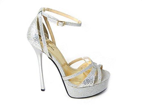 femme pour SKO'S Sandales 92478 Silver 4B qSwBxEv